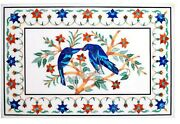 24 X 36 Inch Marble Sofa Table Top With Pair Of Bird Pattern Royal Wall Scenery