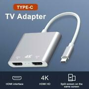 4k Hd Type-c Usb-c To 2 Hdmi Hdtv Tv Cable Adapter Converter For Android Laptop