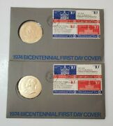 2 Stamp And Coin Collectors 1974 Bicentennial First Day Cover John Adams Medal