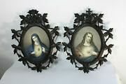 Pair Black Forest Rare Wood Carved Wall Plaque Panel Sacred Heart Christ Mary