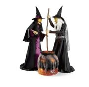 Halloween Prop Two Animated Life-size Witches And Cauldron Talks Lights Up Grj9
