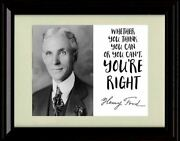 Framed Henry Ford Autograph Promo Print - Inspirational Quote