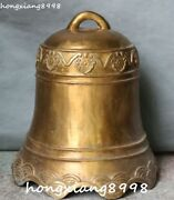 19 Unique China Bronze Flower Pattern Bell Timepiece Horologe Gong Bells Statue