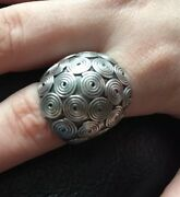 Ring Solid Sterling Silver 12 Grams Dome Ring Size 7.25 Made In Brazil 🇧🇷