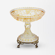 Late 19th Century Baccarat Glass Comport With Bird Of Paradise Design
