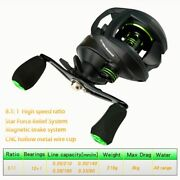 Baitcasting Reel High Speed 811 Gear Ratio Magnetic Brake System Right Hand