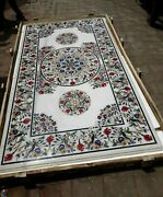 30 X 60 Inches Shiny Gemstones Inlaid Patio Table Top Marble Dining Table Top