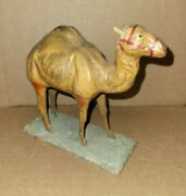 Antique Primative Paper Mache Circus Toy Camel On Stand