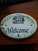 Louisville Stoneware Pottery Welcome Oval Door Plaque Sign House Welcome