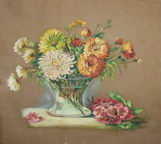 1957 Impressionist Oil Painting Still Life With Flowers Signed