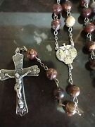 Vintage Catholic Rosary Sterling Silver Stone Beads