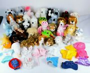 Lot Of 36 Assorted Webkinz Plush No Tags Retired + Outfits Horse Dog Frog Bird
