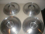 Set Of 4 Vintage 1967 Oldsmobile F85 Cutlass 14 Hubcaps Stainless And Black Oem