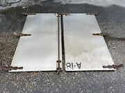 Antique Industrial Architectural Salvage Metal Doors W/hinges And Locking Bars