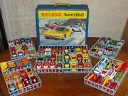 Vintage 1970 Lesney Matchbox Superfast 72 Car Deluxe Collectorand039s Case W/ Cars