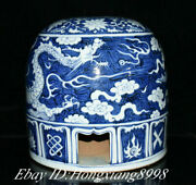 14.1 Antique Old Blue White Porcelain Dynasty Dragon Yurt Stool Chair Statue