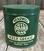 Vintage Wearwell Radio Gas Axle Grease Radio Oil Refineries Tin Can Mint