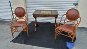 Vintage Antique Maitland - Smith Game Table And Pair Of Fretwork Chairs