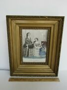 Antique 19th Century French Hand Colored Fashion Print W/ Gilt And Gesso Frame
