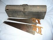 Vintage 2 Henry Disston And Son Hand Wood Saws And 32 Metal Steel Portable Tool Box