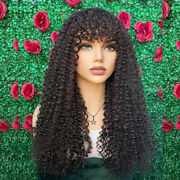 Curly Human Hair Scalp Top Wigs With Bangs Full Machine Made Malaysian Remy Hair