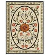 30 X 48 Inches Marble Coffee Table Top Hand Inlaid Patio Furniture Elegant Look