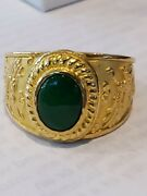 24k 999 Solid Yellow Gold Dragon Chasing The Pearl Ring With Jade 14.7 Gm Sz. 11