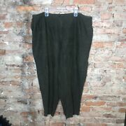Eileen Fisher Womens Casual Linen Pants Plus Size 3x Army Green Cropped Relaxed