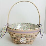 Longaberger 2000 Large White Washed Easter Basket+prot+liner-avail Feb 2000 Only