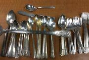 50 Pc Fortune 1939 Tudor Oneida Silverplate Flatware Mix Forks Spoons