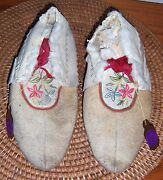 Antique Cree Moccasins Native American Indian Silk Embroidered Circa 1920
