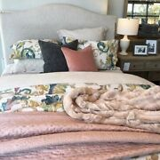 Pottery Barn Cross-stitch Cotton Silk Quilt And Euro Shams Queen Sold Out