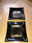 2 Rare Square 6andrdquo Wide Glass Tray Dish Plate Signed Zeller 2008 W Gold Artwork