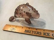 """5"""" Smoke Colored Glass Manatee Christmas Ornament Glitter And Sequins Lqqk"""