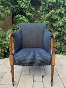 Exquisite Sheraton Style Inlaid Armchair Newly Reupholstered High End Fabric