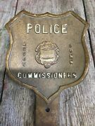 Early Vintage Brass Shield Police Commissioners Auto License Plate Topper Conn.