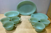 Vtg Fire King Green Jadeite Jane Ray Ribbed Cups 9andrdquo Plates Oval Platter Bowl