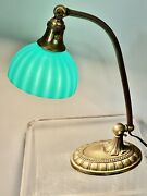 Orig Antique Emeralite 1920s Desk Lamp Signed Cased Glass Striped Shade And Base