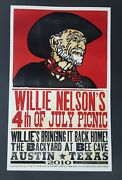 Willie Nelson 4th Of July Picnic Hatch Show Print Austin Tx 2010 Concert Poster
