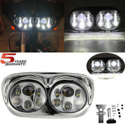 Motorcycle Led Headlight Dual Projector Lamps For Harley Road Glide 2004-2013
