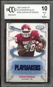2007 Sage Hit Playmakers Blue P28 Adrian Peterson Rookie Card Bgs Bccg 10 Mint+