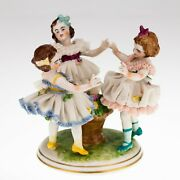 Dresden Ring Around The Rosy Porcelain Lace Figure Three Girls Nice