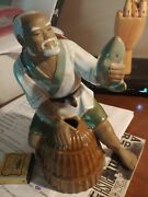 Oriental Man Fishing Statue Signed By Artist
