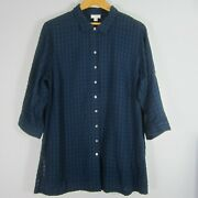 New J. Jill Plus 2x Navy Blue Everyday Blouse Relaxed Cotton Shirt Nwt 89