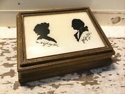 Vintage George And Martha Washington Silhouettes Reverse Glass In Wood Jewelry Box