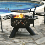 Bali Outdoors Wood Burning Round Fire Pit Barbecue Pit Bbq Backyard