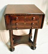 Antique Early 19th Century Boston Empire Mahogany Drop Leaf Work Table