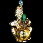 Coro 'ali Baba' Fortune Teller Genie With 'jelly Belly' Perfume Bottle Pin