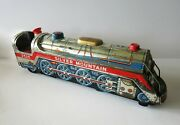 Vintage 1960and039s Silver Mountain 3525 Tin Toy Train - Modern Toys Co. Japan-works