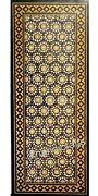 24 X 60 Inch Black Marble Hallway Table Top Yellow Stone Inlay Work Coffee Table